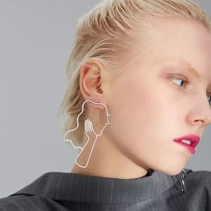 Retro Girl Silhouette Hollow Out Earrings